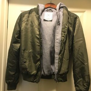 Army Green bomber coat with hoodie insert.